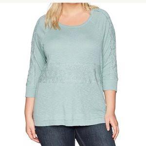 Democracy Size 1X Shirt Lace Inset 3/4 Sleeve
